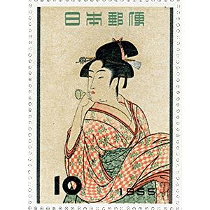喜多川歌麿「ビードロを吹く娘」(きたがわうたまろ びーどろをふくむすめ)